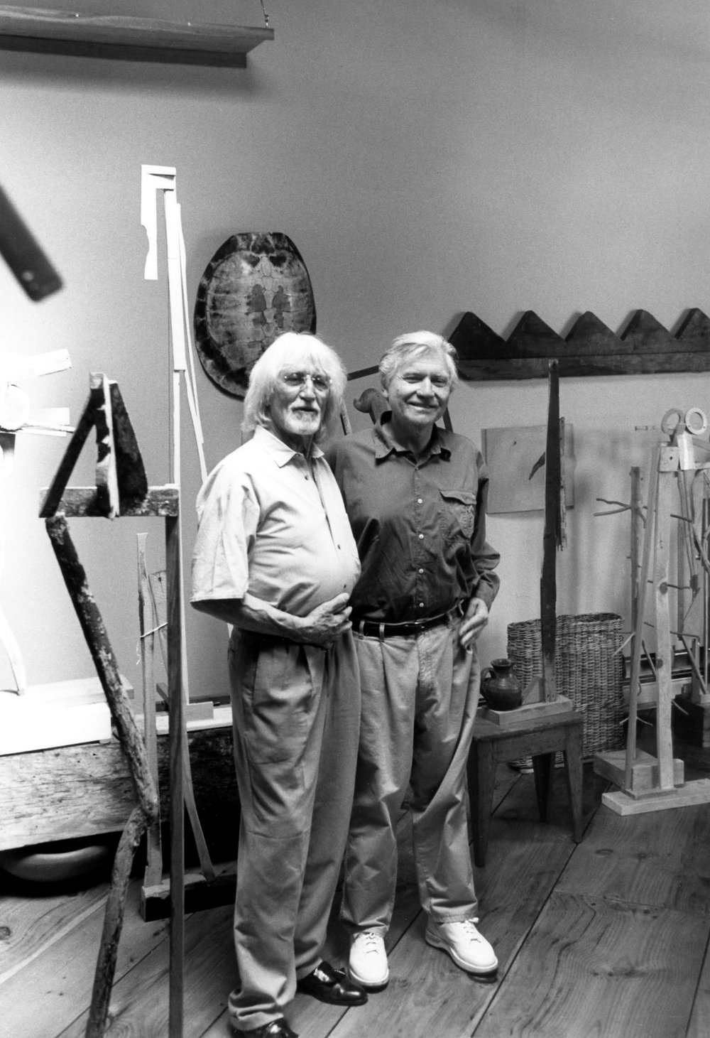 JU with his friend, the sculptor Clarence Van Duzer (and also JU's Cleveland Institute of Art drawing instructor). Loft, Coppersmithing Building, 511 Eddy St., Providence, RI