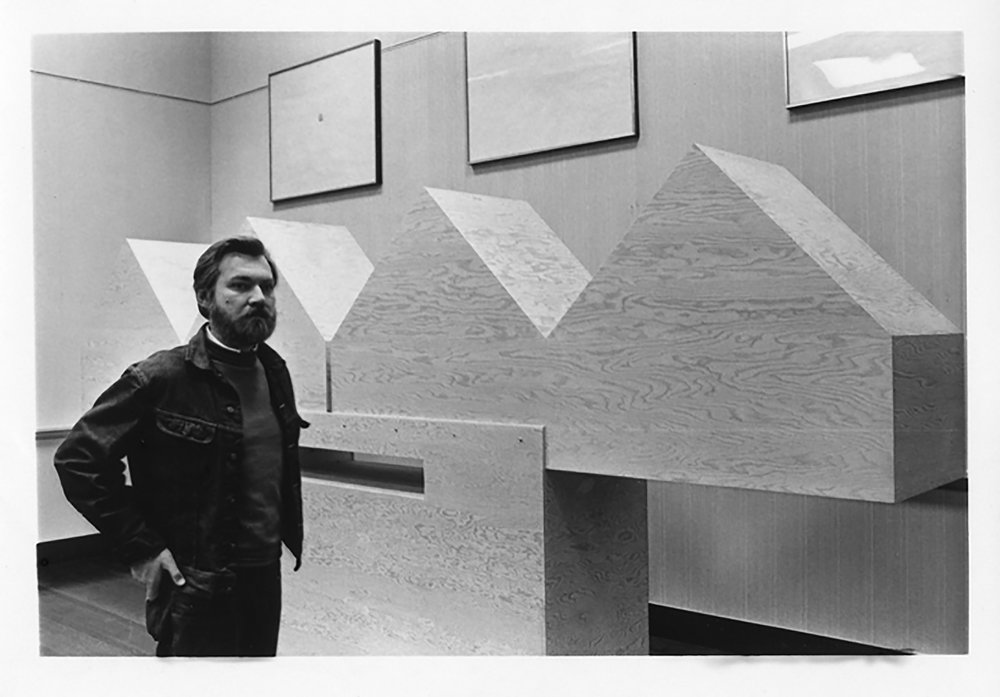 JU with his monolithic plywood sculptures on exhibition at the Ann Mary Brown memorial, Brown University, Providence, RI. 1972