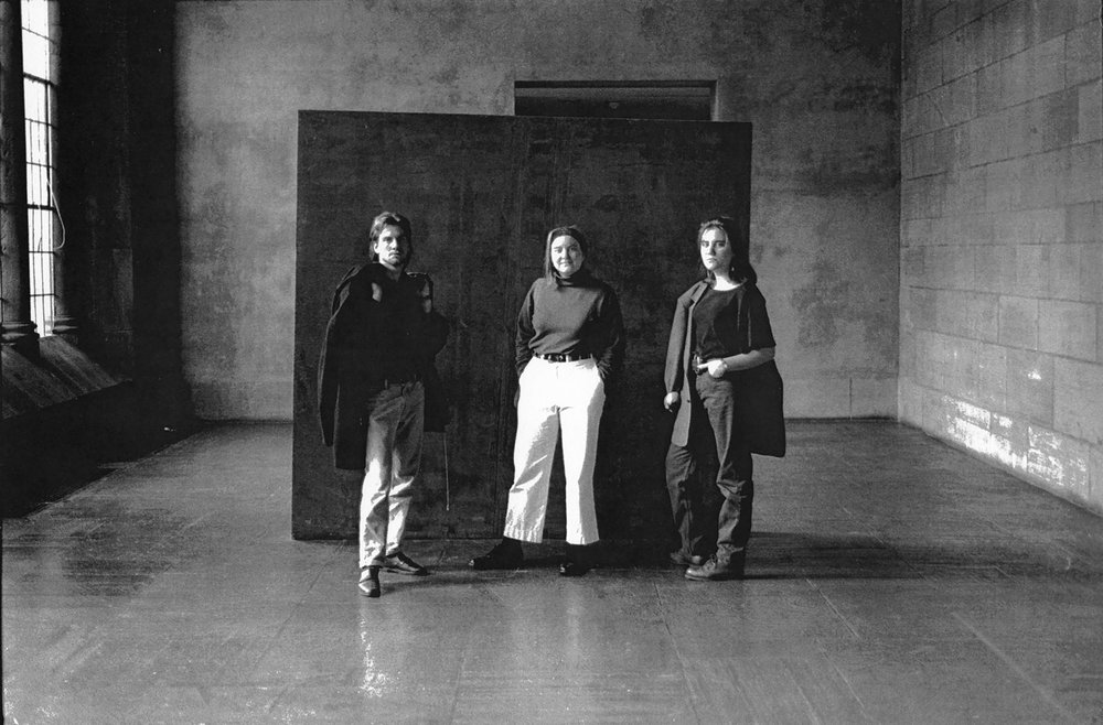 Aaron, Chryssa, and Shana in front of JU's Yale Art School classmate Richard Serra's sculpture, Yale University Art Gallery, New Haven, CT, c. fall 1987