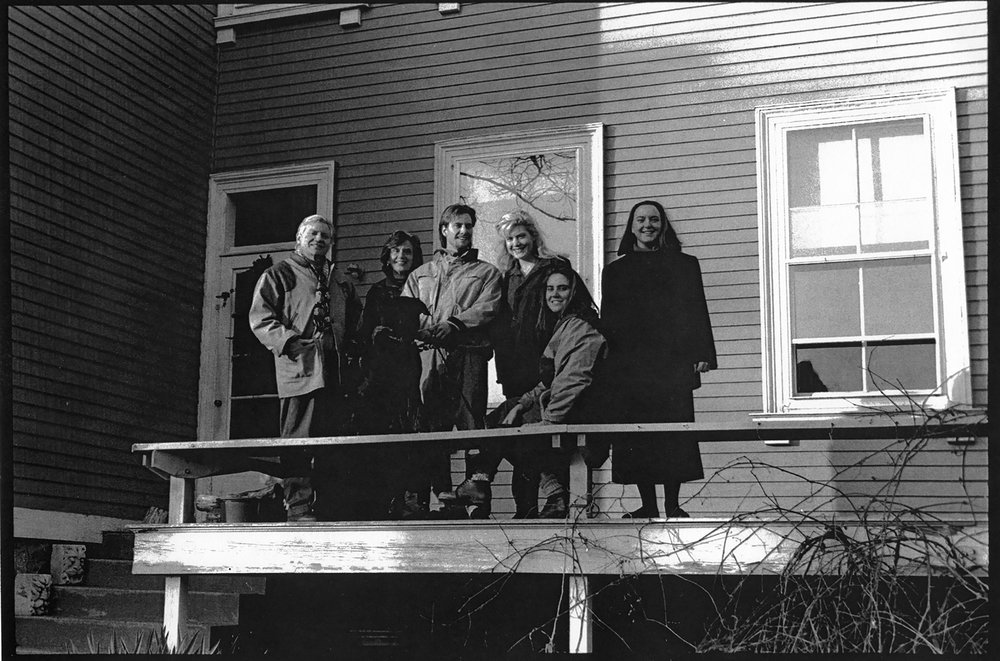 Left to right - JU, Lyn, Aaron, Jessica, Shana, Chryssa, and dog Tosca on back side porch, 900 Hope St, Bristol, RI, Thanksgiving, c. 1989