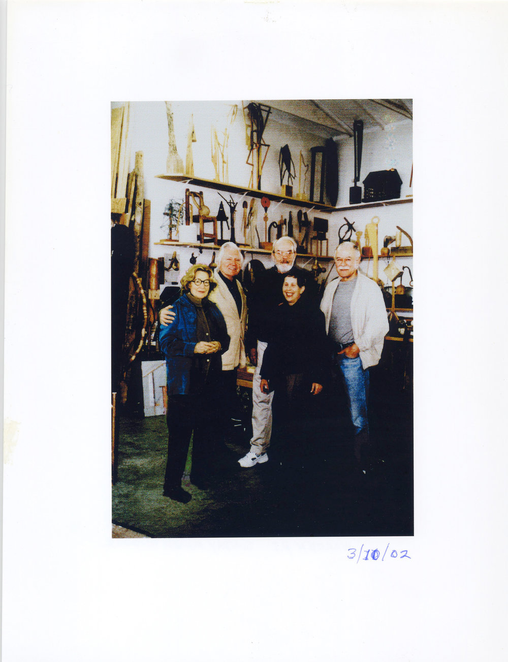 Friends and colleagues on a visit to JU's studio, 60 Croade St., Warren, RI. Left to right - Mary Townley, JU, Hugh Townley, Bunny Fain, and Jean Fain in the foreground. March 10, 2002