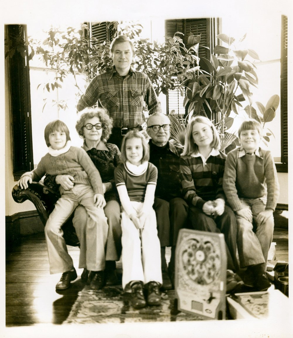 JU with his mother and father and children (left to right) - twins Chryssa and Shana, Jessica, and Aaron in the living room 900 Hope St., Bristol, RI, c. 1975-76