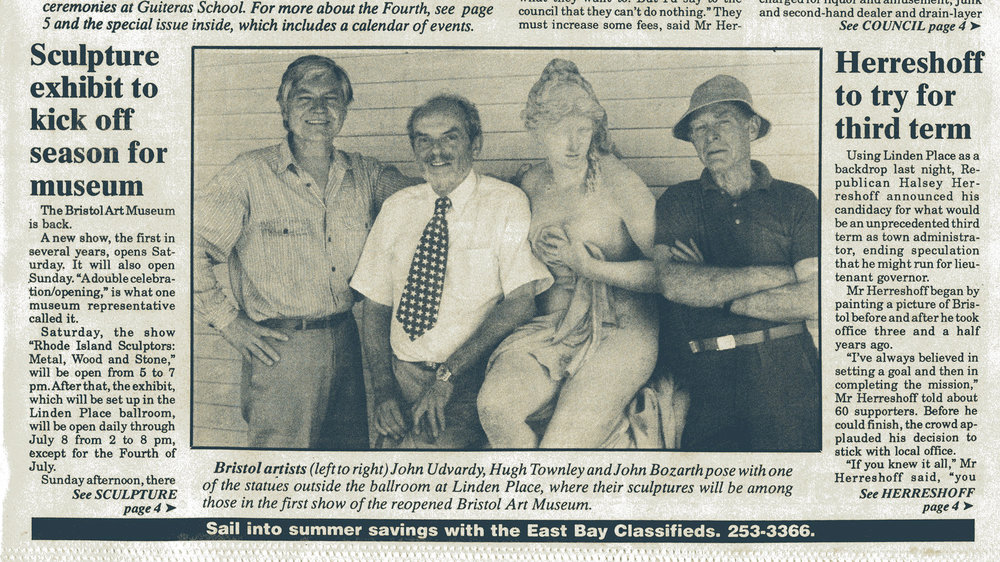 JU with sculptors and colleagues Hugh Townley, John Bozarth and Aphrodite at the Bristol Art Museum, Bristol Phoenix Newspaper, June 21, 1990