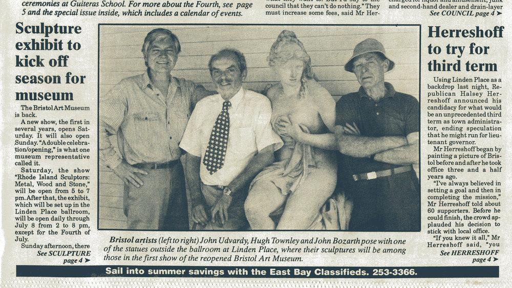 JU with sculptors and colleagues Hugh Townley, John Bozarth and Aphrodite at the Bristol Art Museum, Bristol Phoenix Newspaper, June 21, 1990