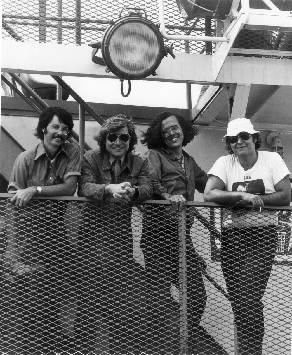 As Chairman of the Freshman Foundation Division and Director of the Summer Transfer program at RISD, JU takes the students and faculty on a field trip aboard the Block Island Ferry. Jerry Clapsaddle, JU, Earl Powell, Alfred DeCredico. Summer 1973