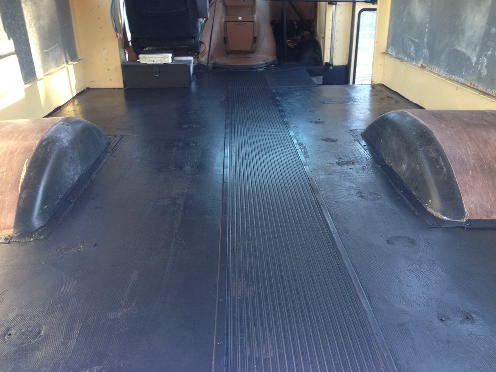 Removed the bunks, painted the floor