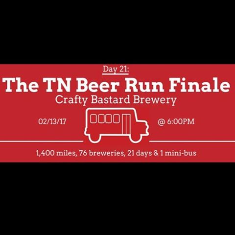 Tonight @craftybastardbrewery at 6:00pm it's going down! See you then! #knoxrocks #drinklocal #tnbeerrun #knoxbrewers