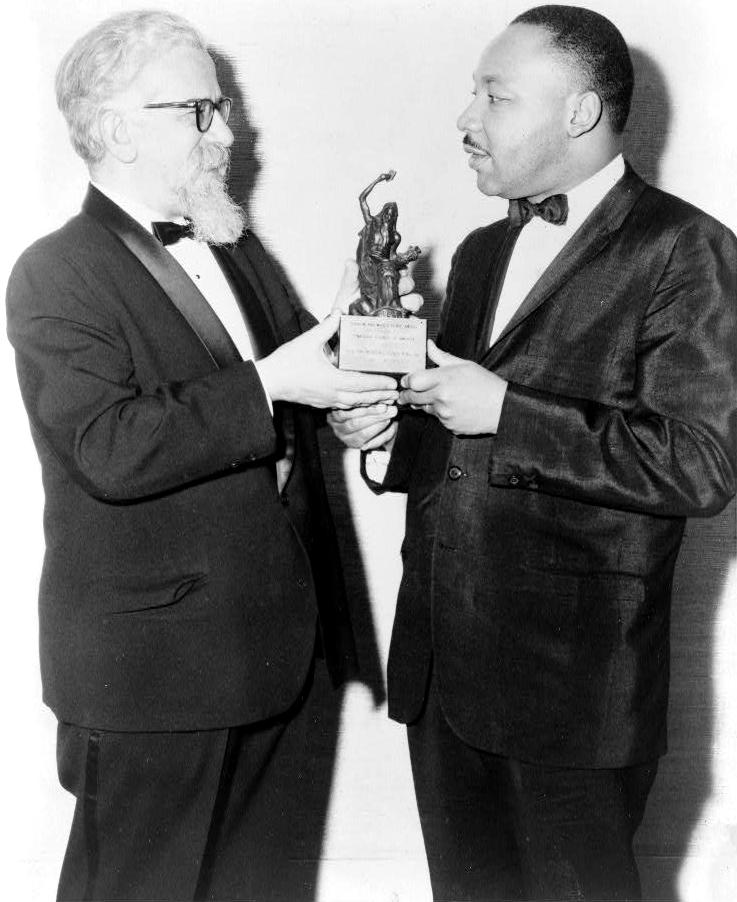 Rabbi Abraham Joshua Heschel presents the Judaism and World Peace Award to Martin Luther King Jr. in 1965.   Source: Library of Congress