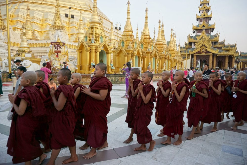 Buddhism is deeply engrained in Burmese culture. All Buddhist Burmese boys must spend at least one week at a monastery as novice monks before they reach adulthood.