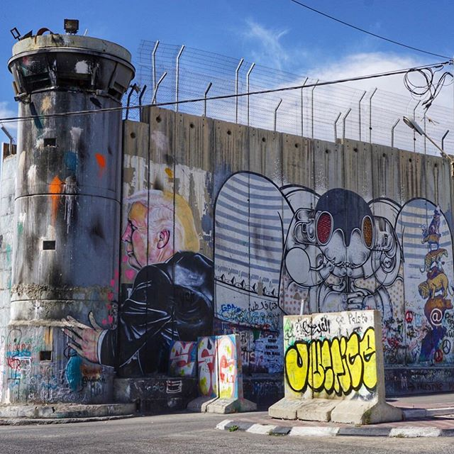 A watch tower along the wall in Bethlehem that separates Israel from the West Bank.
