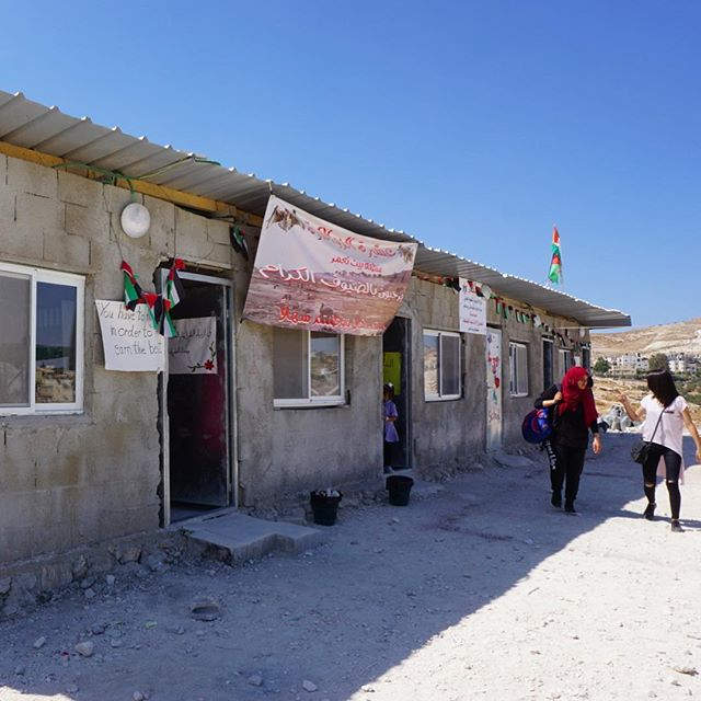 This small school was demolished by the Israeli military 5 times. The money to rebuild is donated by NGOs in Europe.