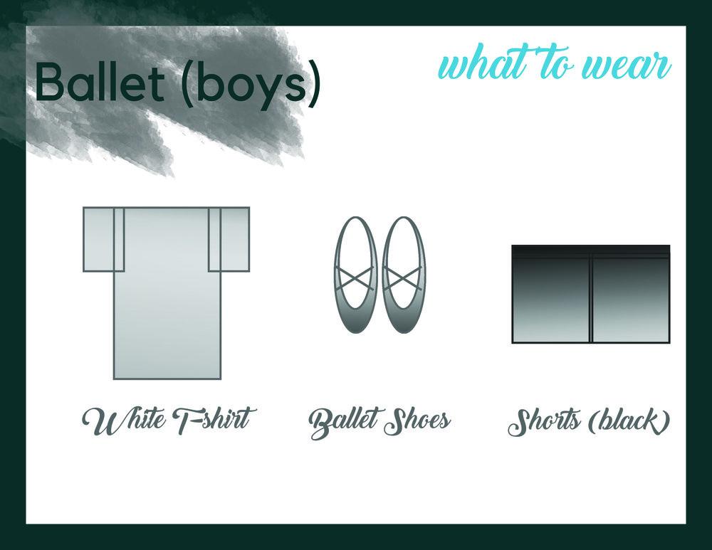 Ballet (Boys) - Black shortsBlack ballet slippersWhite t-shirt