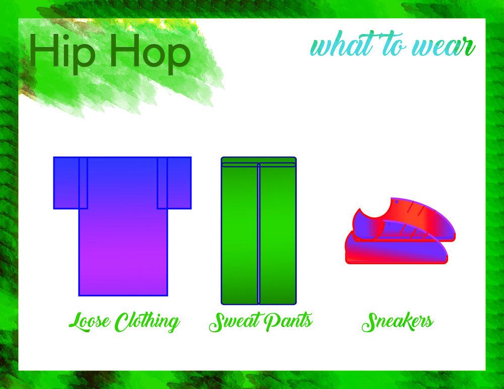 Hip Hop - Closed- toed shoesSweat pants, shortsT-shirt