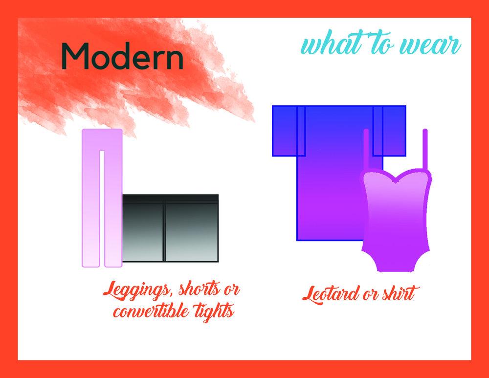 Modern - Leggings, shorts or convertible tightsLeotard, shirt