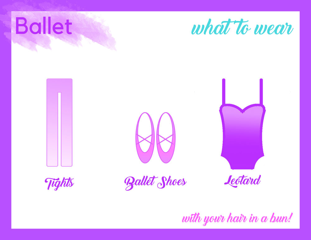 Girls - Hair in a bun, pink leather ballet shoes, pink tights, and class leotard (see the list below). No jewelry or dangling accessories.