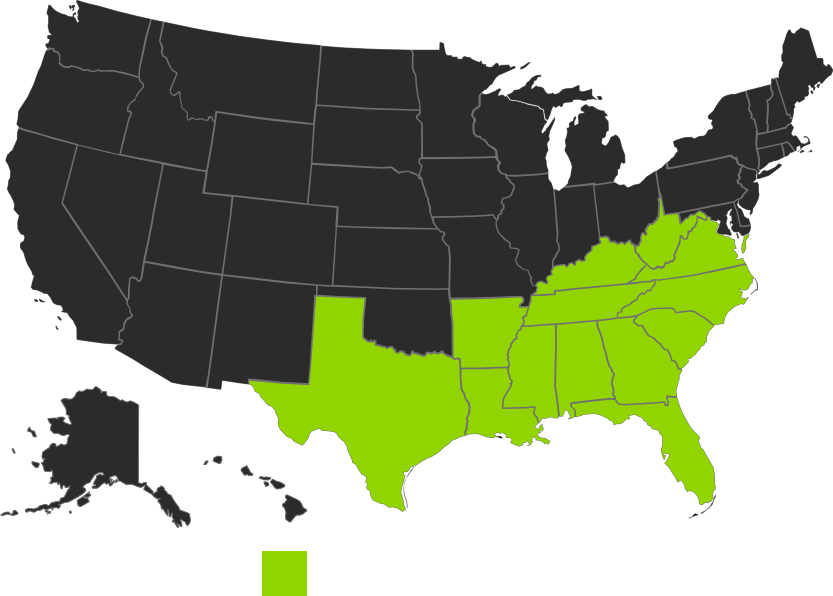 Map of states where Morgan Corp is authorized to work