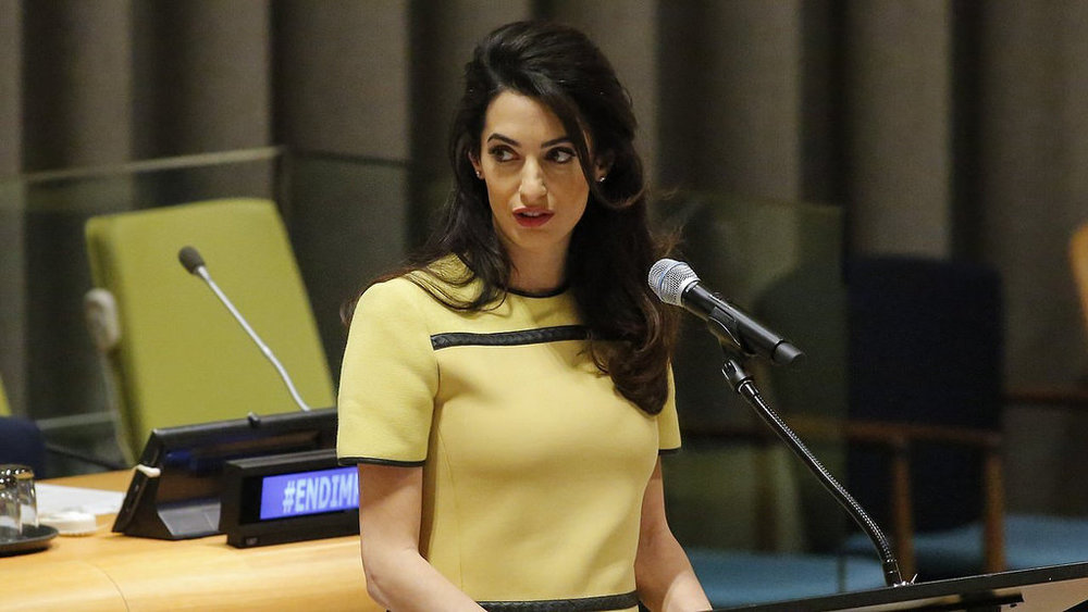 "Amal Clooney addresses the UN at ""The Fight Against Impunity for Atrocities: Bringing Da'esh to Justice"" on March 9, 2017."