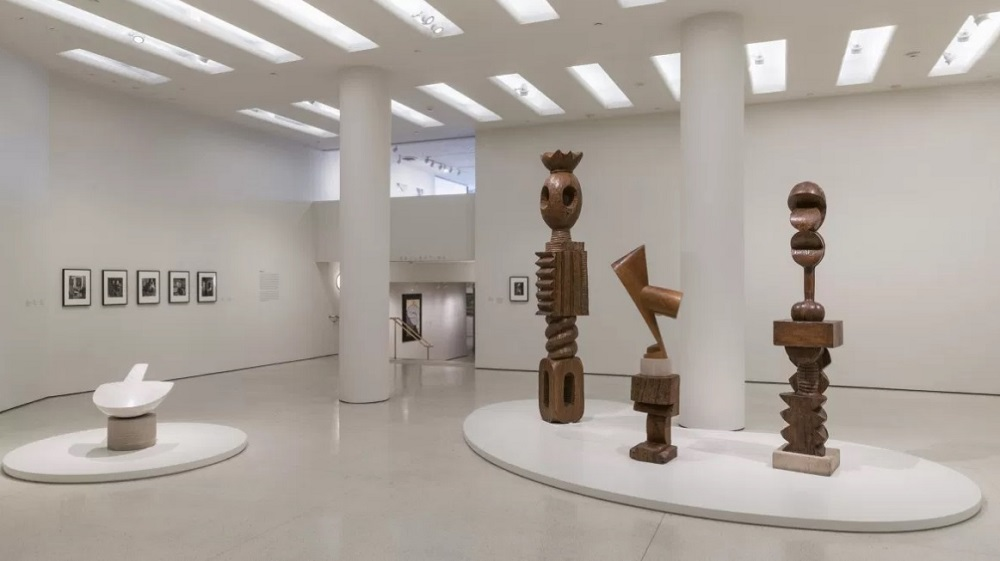 From left: Constantin Brancusi's Flying Turtle, King of Kings, The Sorceress, and Adam and Eve