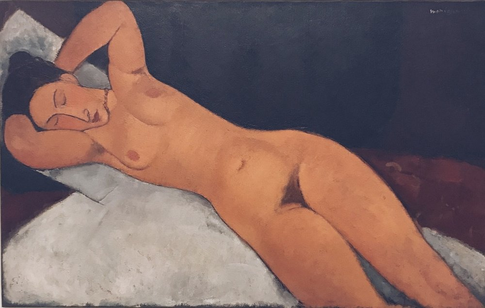 Nude (Nu) by Amedeo Modigliani. 1917. Oil on Canvas. Picture of painting taken at the Guggenheim.