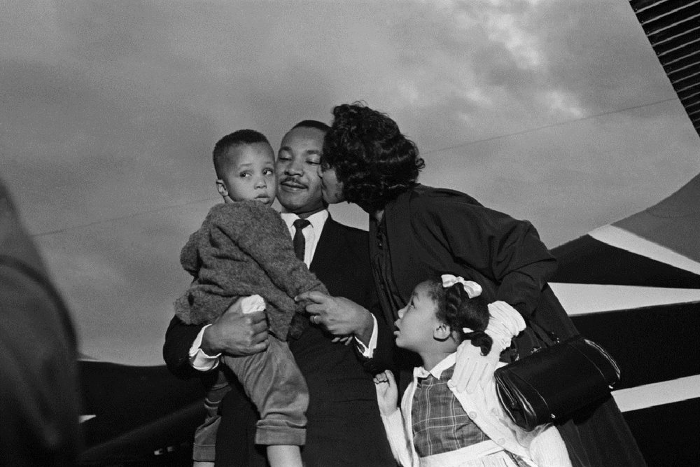 Dr. Martin Luther King, Jr. with his wife Coretta and two childre after he is freed from jail at the airport in Chamblee, Georgia. October 27, 1960.