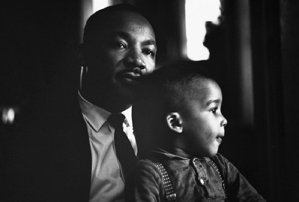 Dr. Martin Luther King Jr. with his  son Dexter at home in Atlanta, Georgia. November 8, 1960..jpg