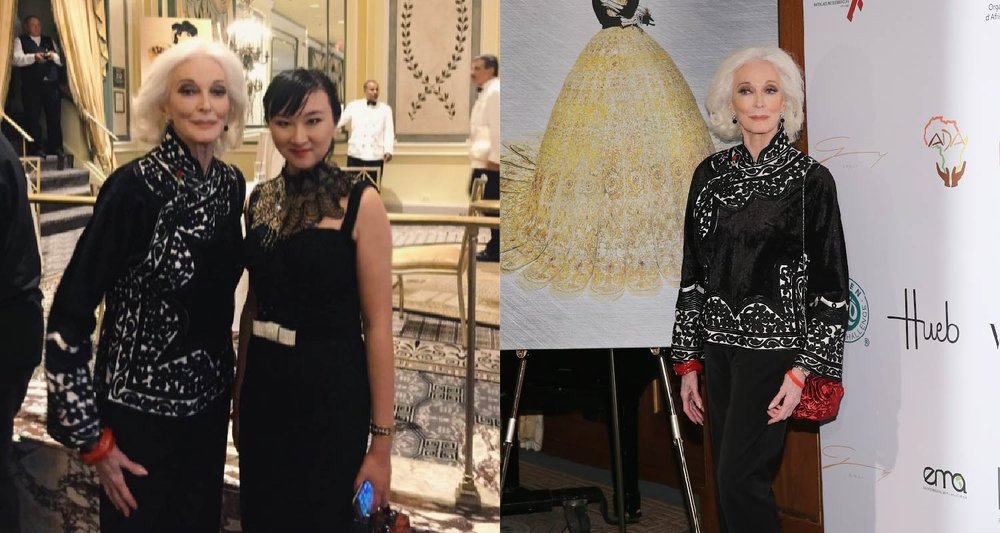 AmeriChina创始人与传奇名模Carmen Dell'Orefice于午宴合影留念