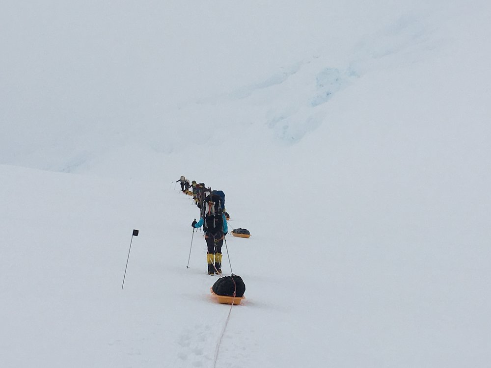 Traveling to Camp 1 on Mt. Massive, Antarctica, 2015. Temperatures in - 20 F to -50 F.