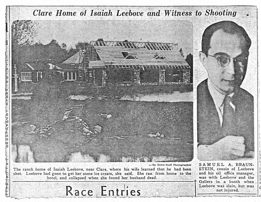 Newspaper clipping featuring the Tobacco Ranch home and the shooting of Isaiah Leebove at the Doherty Hotel