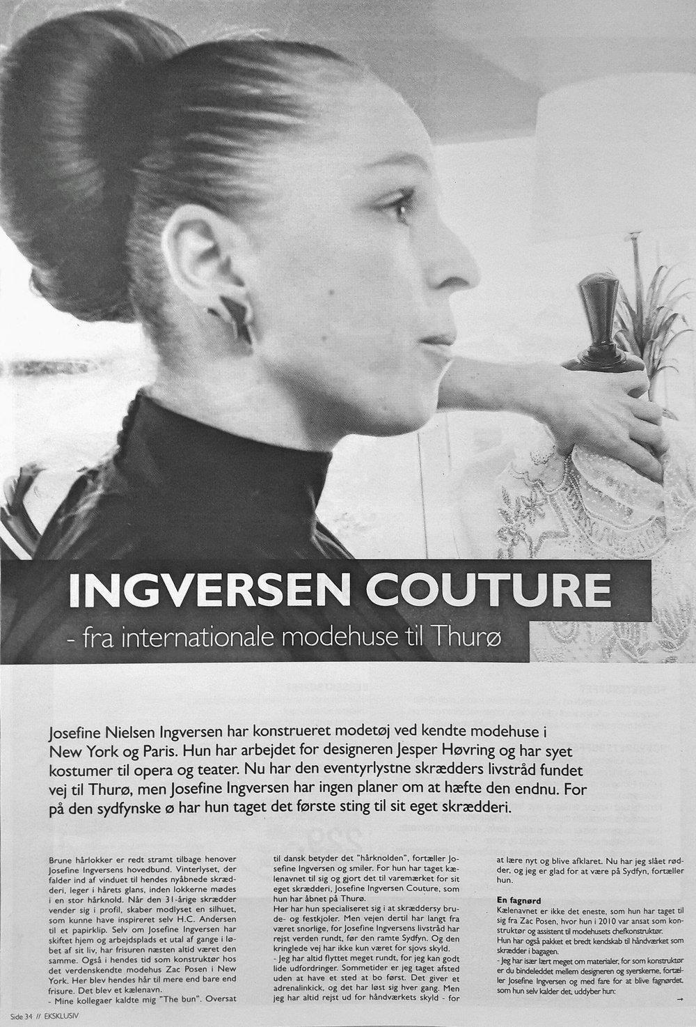 Eksklusiv // Ingversen Couture // Fyens Stifttidende & Fyens Amts Avis // 25. marts 2017