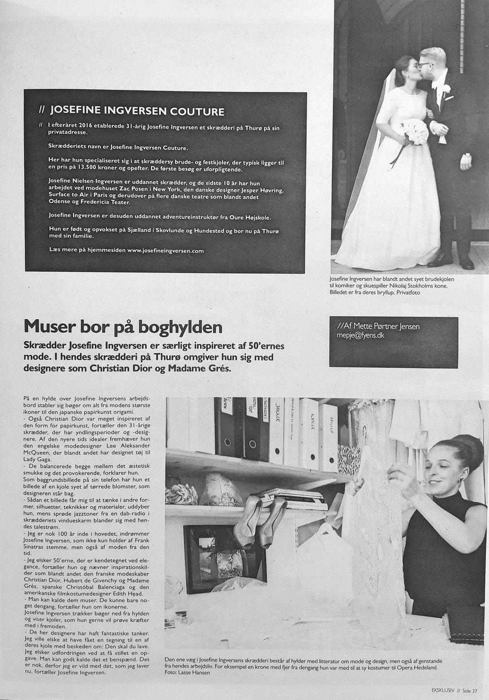 Eksklusiv // Muser bor på boghylden // Fyens Stifttidende & Fyens Amts Avis // 25. marts 2017   *Uddybning: Huset Christian Dior var inspireret af den japanske kunstform origami i Haute Couture kollektion 2007 under John Galliano