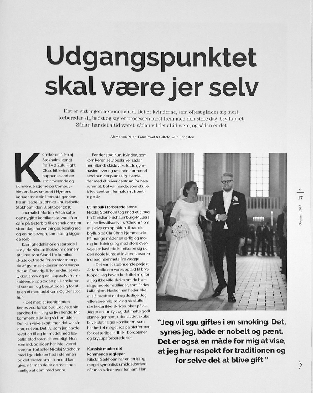 Gommen // Udgangspunktet skal være jer selv // Bryllyup.dk // Januar 2017