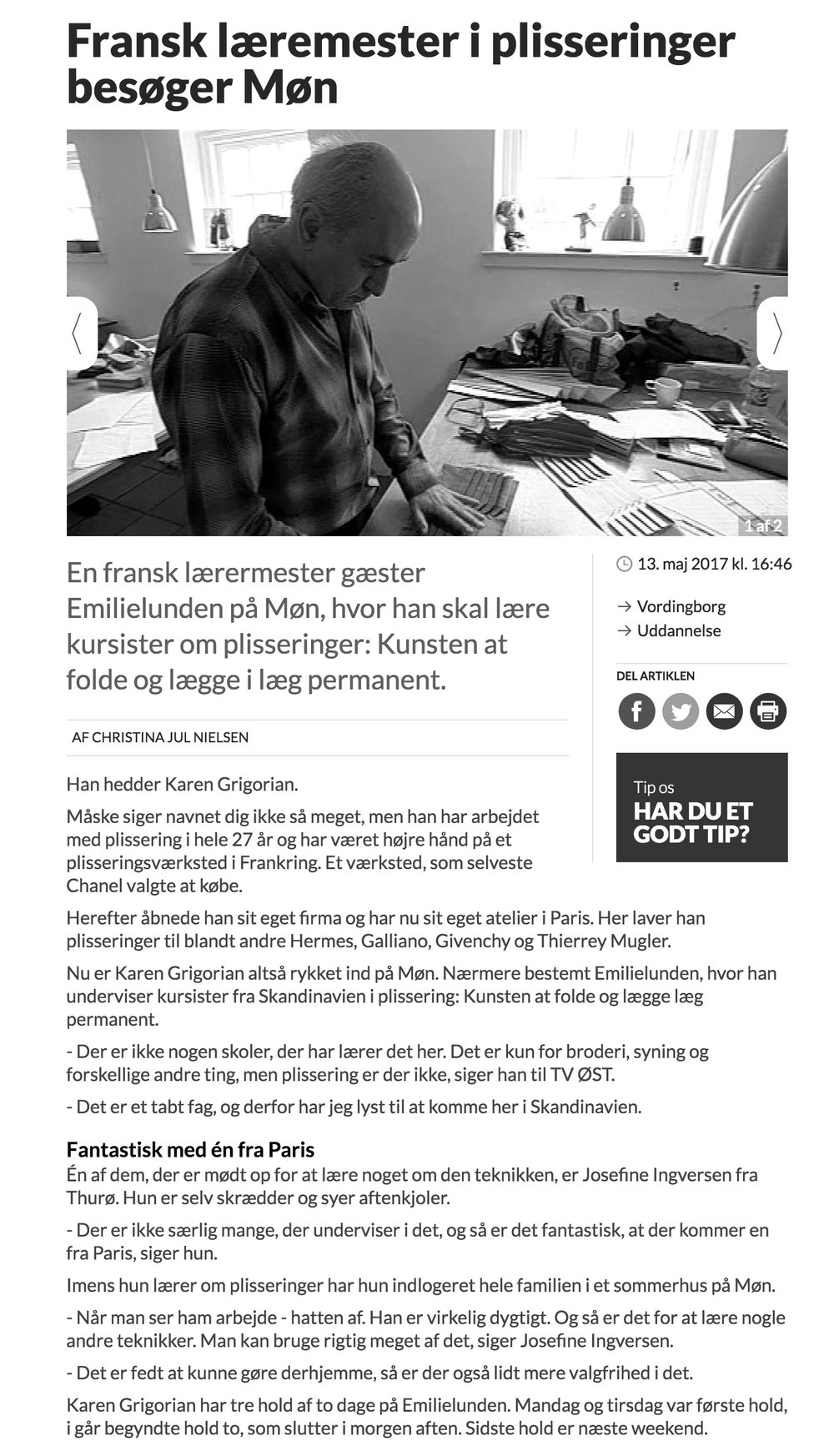 TvØst // Fransk læremester i plisseringer // Interview // 13. maj 2017