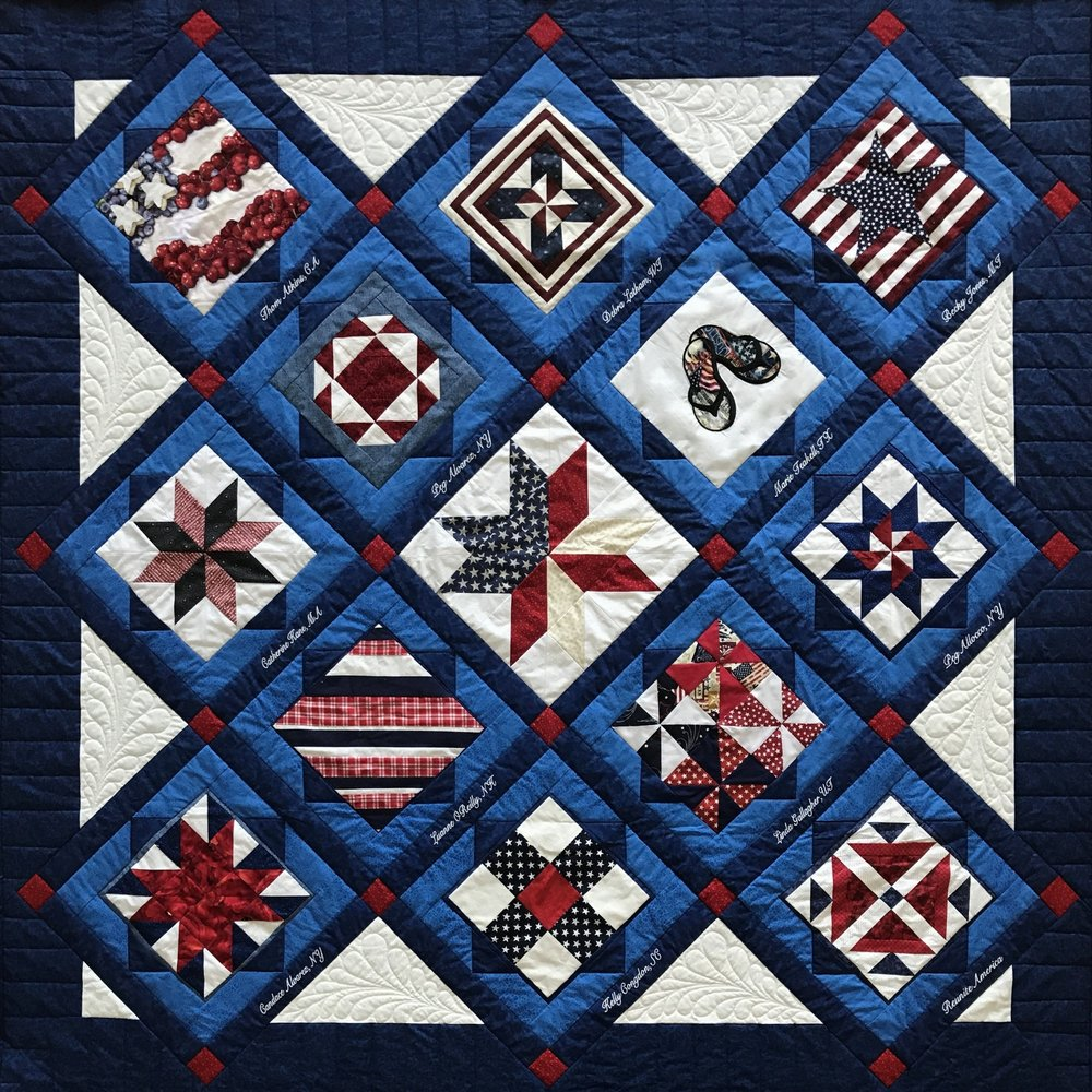 "REUNITE AMERICA CHALLENGE QUILT PROJECT 2017 (Dimensions 67""x 67"") Embroidery by Clare's Embroidery, Saratoga Springs, NY"