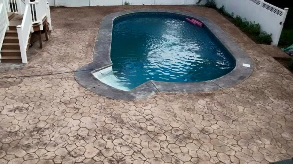 Concrete Pool Deck in Bedford, New Hampshire