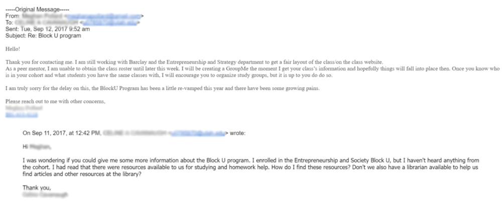 This is an email conversation between a BlockU student and advisor explaining that a GroupMe was going to be made but never was.