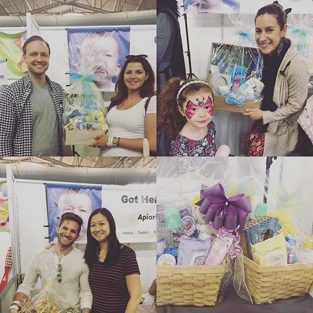 Look at some of our #luckywinners for today. Two lovely #BaboBotanicals baskets going this hour. Stop by booth 704 to enter. #NewYorkBabyshow