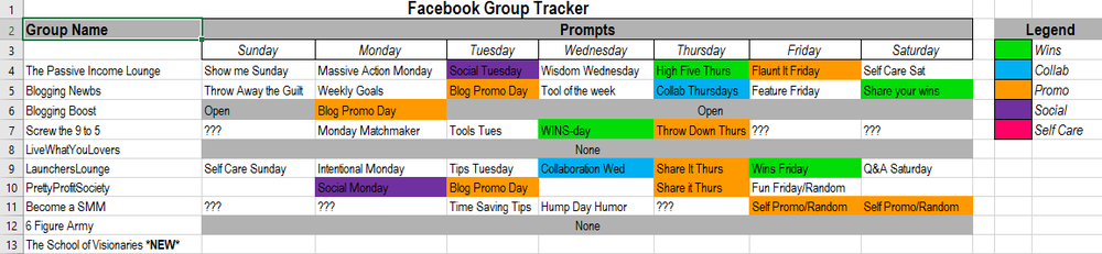 "Please note: Some of the groups are new and don't have a schedule yet. The areas that say ""none"" aren't literal."