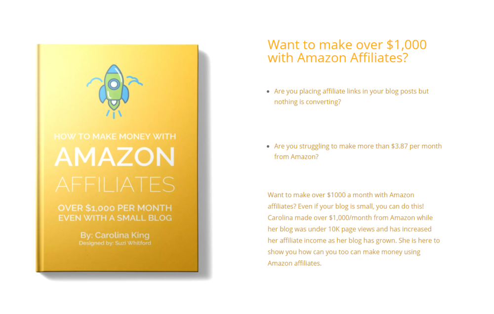 This ebook is a lifesaver when it comes to Amazon's strict affiliate policy. It simplifies strategies to share on social media, your blog, and even newsletters although it's prohibited! Don't worry, the tips in this book won't get you kicked out the program. You should definitely invest in it!