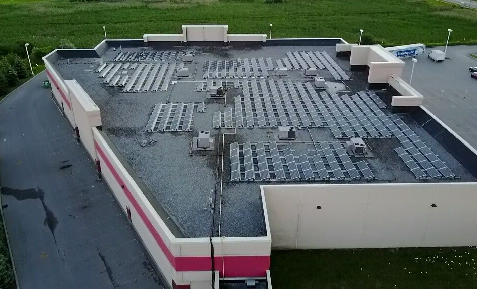 Client: Moose Power    System size: 120kw, Sungrow Inverters, KB Aerorack Racking    Construction time: 2 weeks