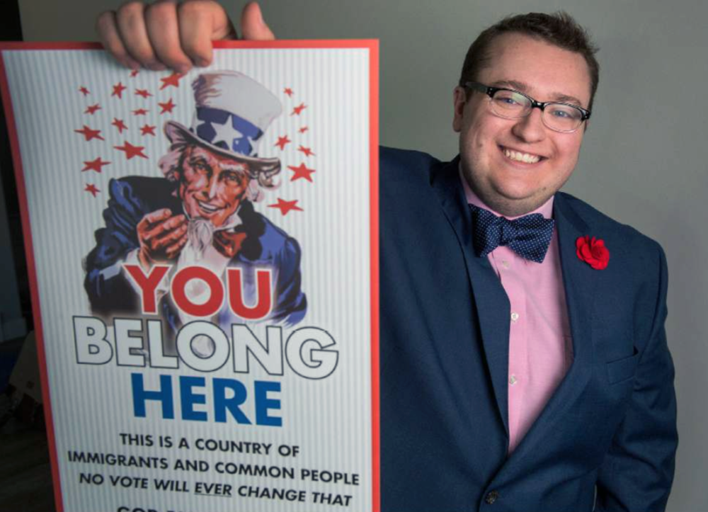 "(Leah Hogsten | The Salt Lake Tribune) Austin Hudson, a graphic designer, made hundreds of ""Uncle Sam"" posters to tell immigrants, Muslims and others that ""you belong here."" Although Hudson had hoped to remain anonymous, friends and neighbors concluded he was the culprit and now hundreds have been placed throughout the community."