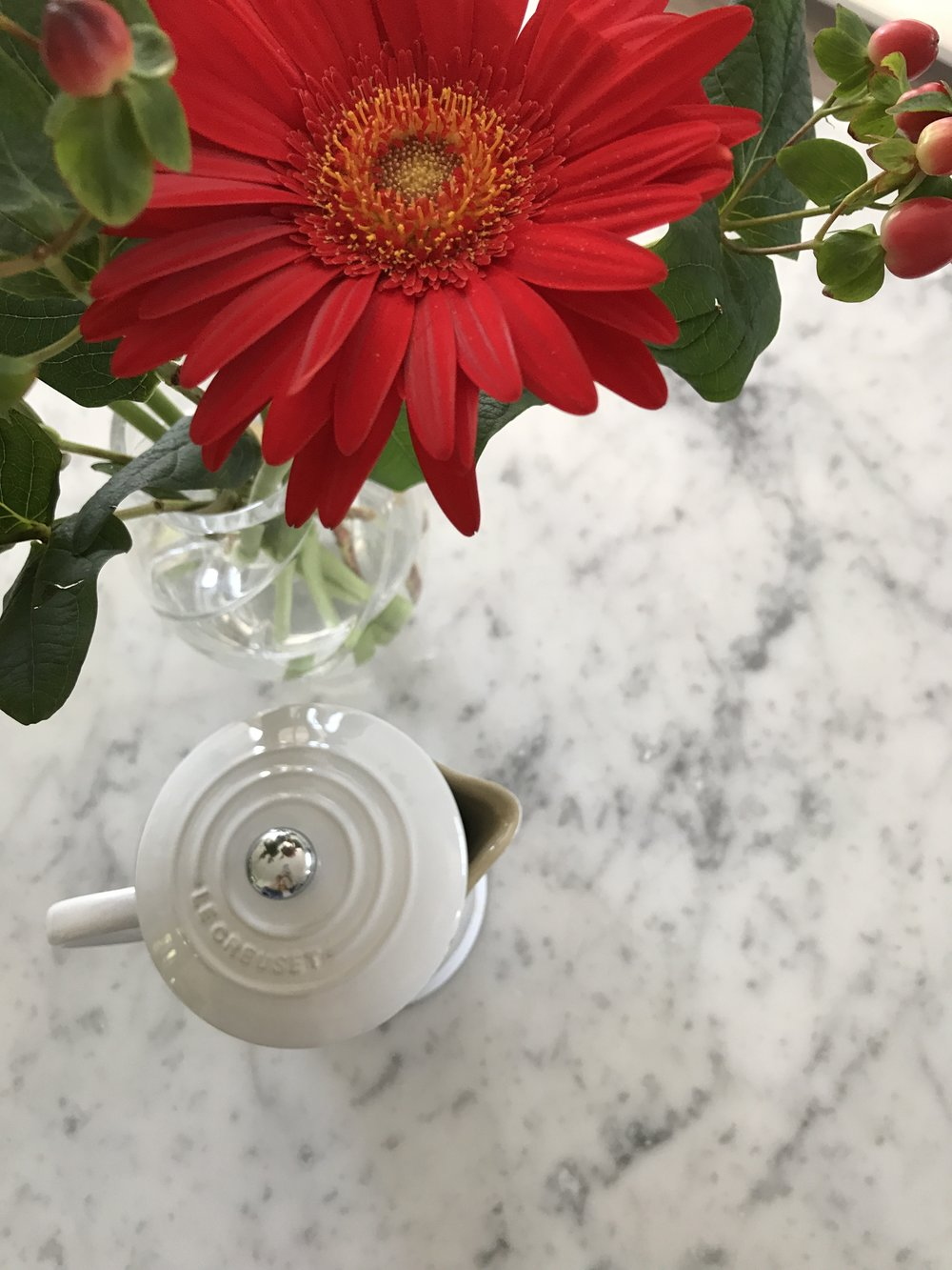 My beautiful Husband brought home some flowers this weekend which are beyond gorgeous! REd to celebrate both Canada Day and the Fourth of July! On the weekend we enjoy using our carafe from Le Creuset. Spending a little more time with the luxury of coffee always helps us feel a bit more relaxed!