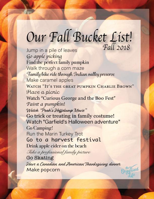 An Organized Life Fall Bucket List