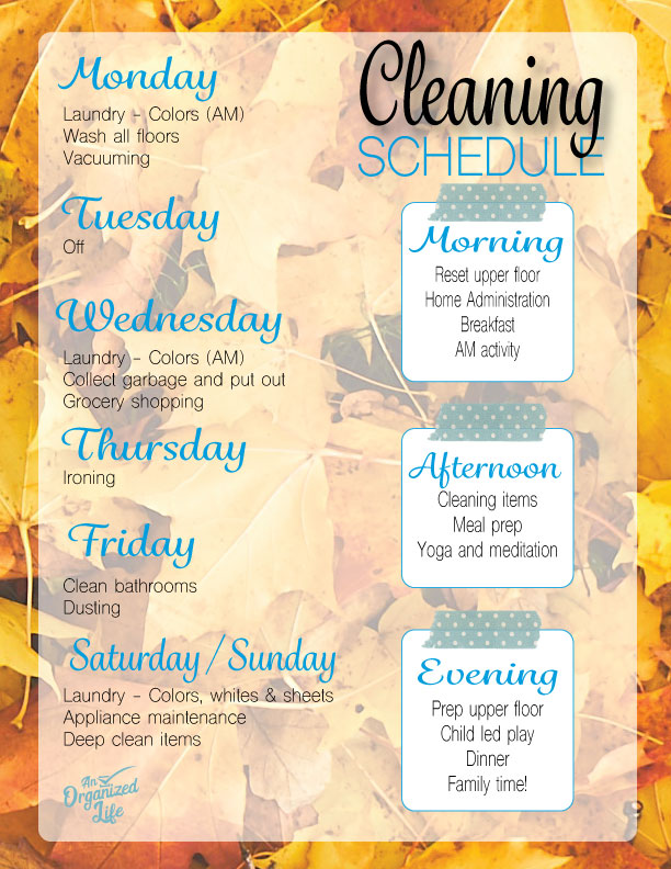 An Organized Life: Lauren's Cleaning Schedule