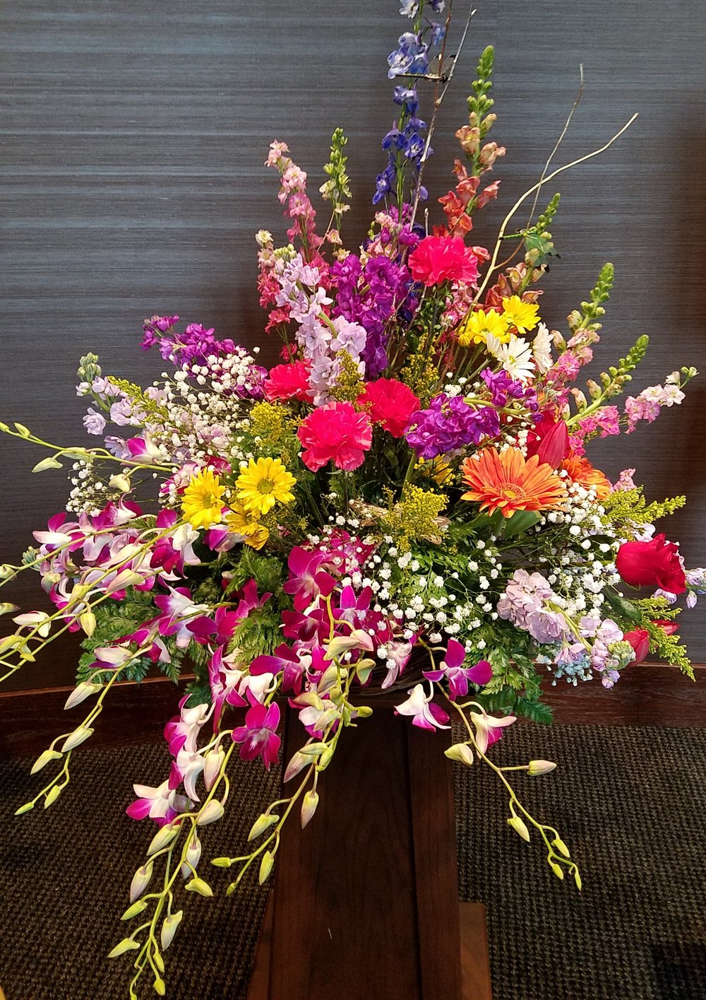 Multicolored funeral flowers