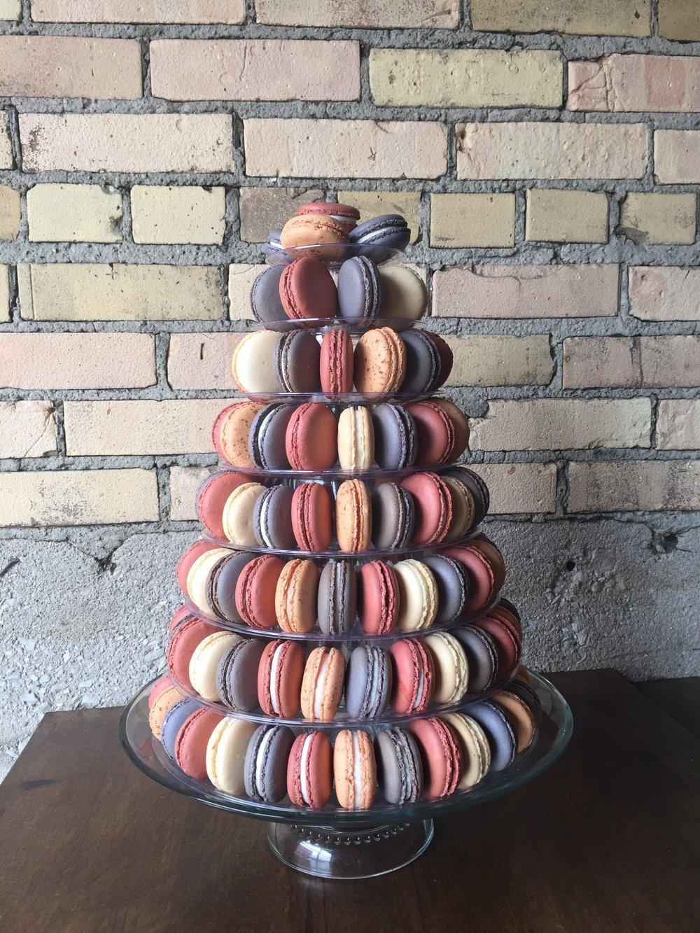 brick wall macaron tower
