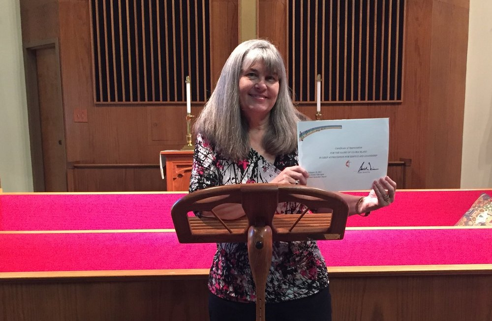 Choir Director, Gloria Bland, retires after 23 years service to Aldersgate.  The Church celebrated her service on February 19th 2017 at the morning service and it was followed by a potluck lunch.