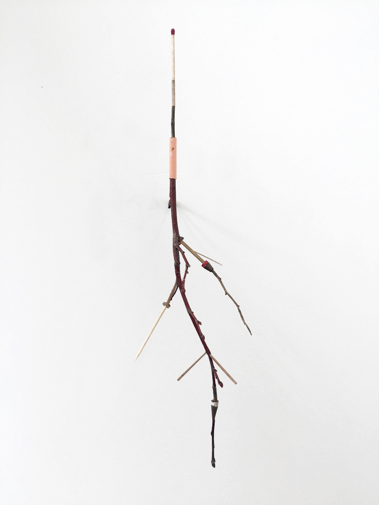 redbird   2017 twigs, mixed media wood products 18.5 x 5 x 6 inches