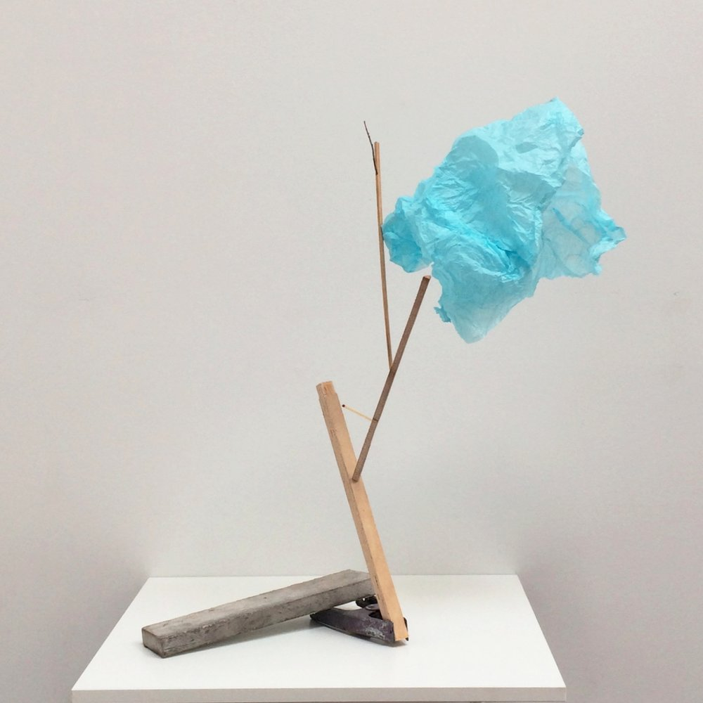 acot 2016 twigs and mixed wood products, wrapping tissue, spring clamp, marble 22.25 x 24 x 18 inches