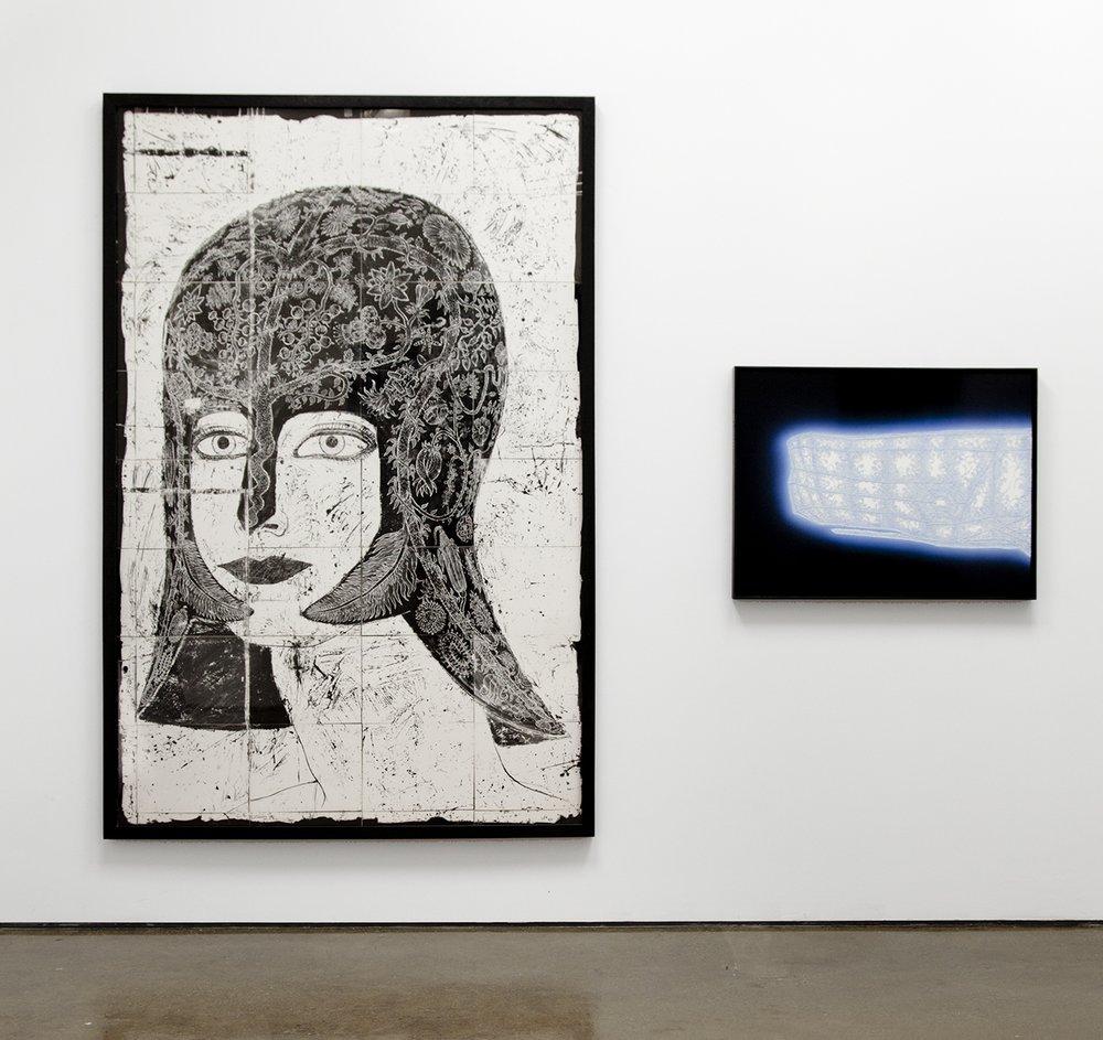 DOUGLAS WALKER   Untitled (Helmet of Flowers)  (1985) and  r-650  (2018)