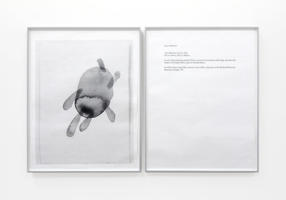 THERESE BOLLIGER  One Work with Footnote  2015-2017 diptych; hybrid prints edition 1 of 1 36 x 29 inches each